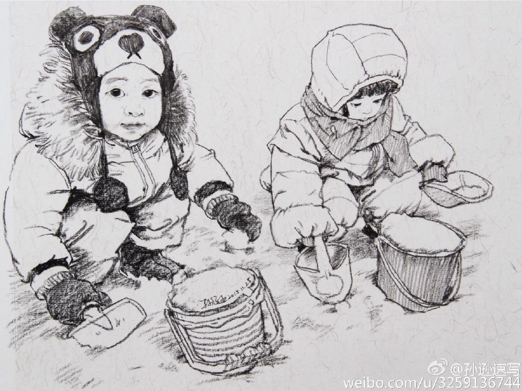 关于母子手绘图片