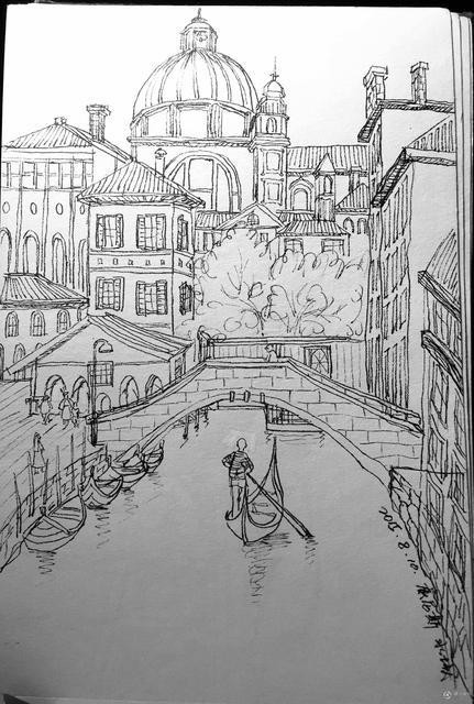 古堡水彩手绘插图
