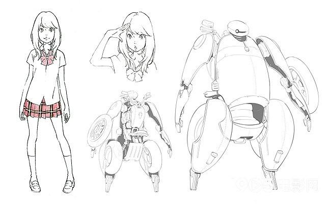 手绘稿,一张是片中主人公少女森山kokone和变形成机器人的侧边式摩托
