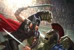 由塔伊加·维迪提执导的影片《雷神3:诸神黄昏》日前曝光一张新概念图。雷神与绿巨人出现在图片上,他们身处角斗场内,锤哥正与绿巨人浩克激战。据网友爆料的图片,D23放出的新海报正是以这张概念图为基础的。