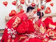 惠若琪大婚晒中式婚纱照 新郎新娘甜蜜亲吻