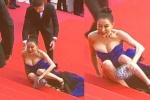 女星戛纳红毯戏精式假摔 上围有料被调侃不动如山