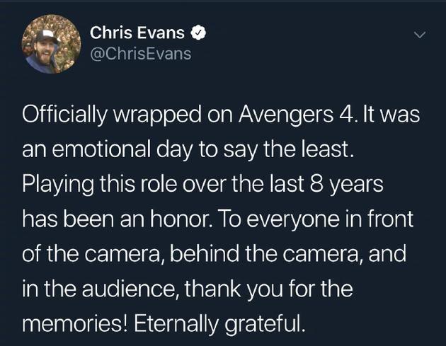 克里斯·埃文斯发文告别《复联》 称不再饰演美队