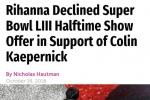 因联盟涉嫌种族歧视 蕾哈娜拒绝超级碗表演邀请