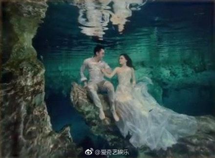 阿娇与老公水底婚纱照性感至极,两人的