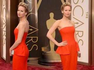 詹妮弗·劳伦斯橘色长裙俏丽动人